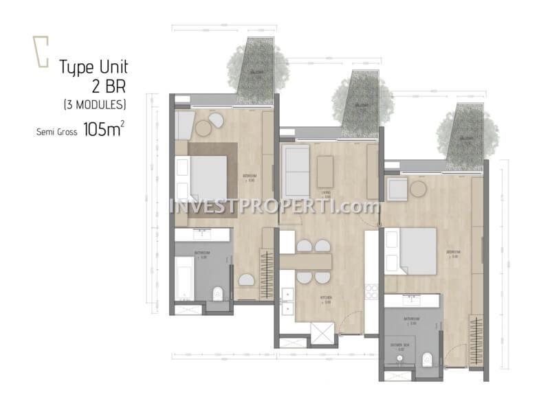 Denah 2BR Carstensz Residence BSD