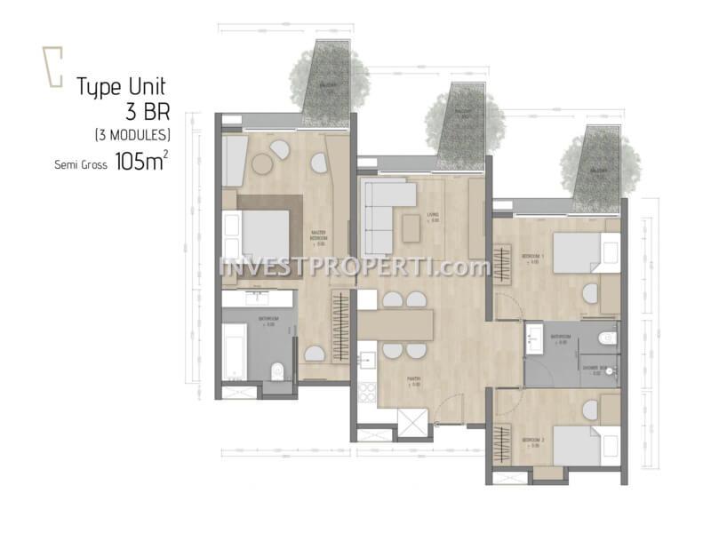 Denah 3BR Carstensz Residence BSD
