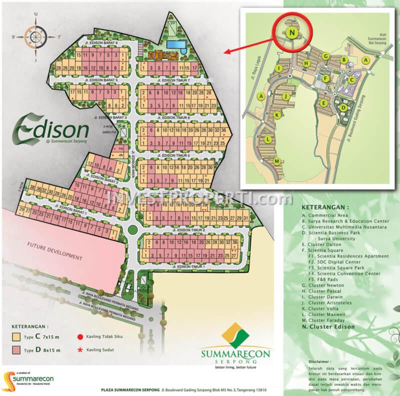 Peta Lokasi Cluster Edison Gading Serpong