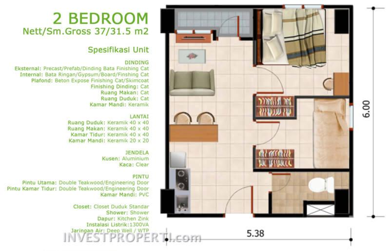 Denah Tipe 2 BR Apartemen Dramaga Tower