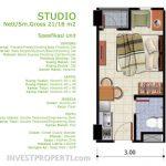 Denah Tipe Studio Apartemen Dramaga Tower