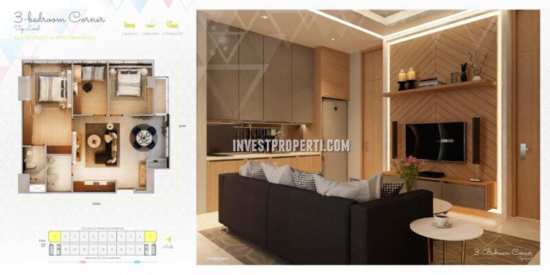 Apartemen Scandinavia TangCity Tipe 3 BR Corner Top Level