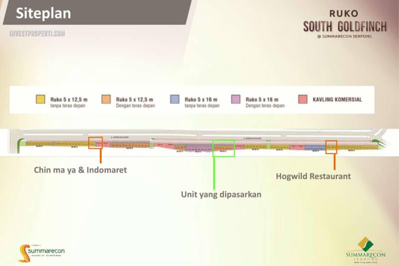 Site plan Ruko South Goldfinch