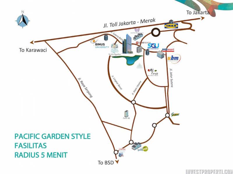Peta Lokasi Apartemen Pacific Garden Style