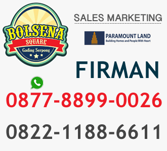 sales marketing ruko bolsena square serpong