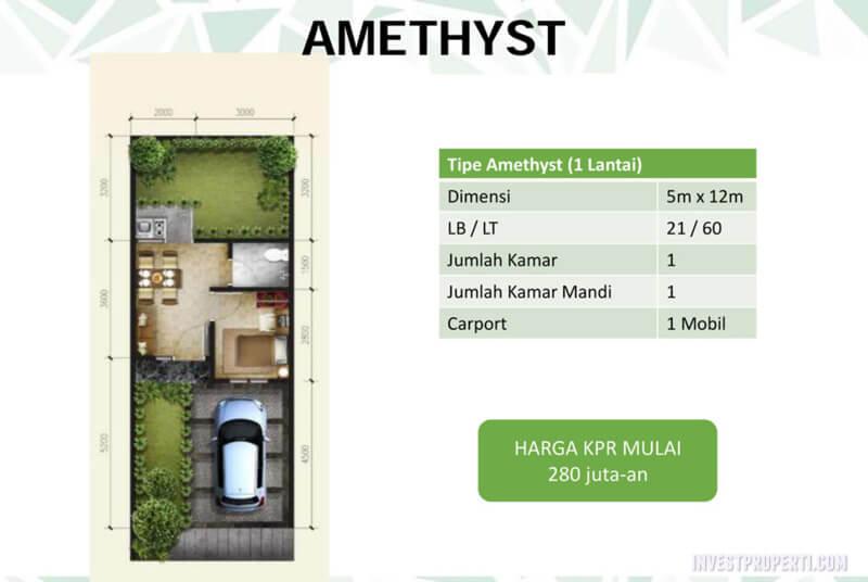 Denah Rumah Emerald Residence Tangerang - Tipe Amethyst