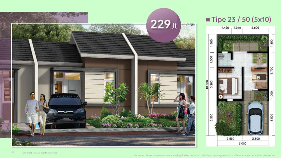Rumah Cluster Arcadia Tipe 23/50