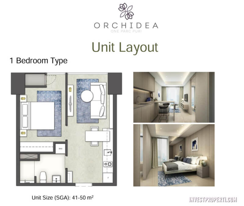 Apartemen One Parc Puri - 1 Bedroom