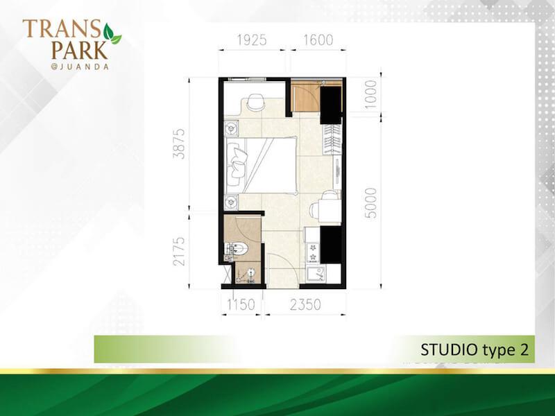 Tipe Studio 2 Corner Apartemen TransPark Juanda