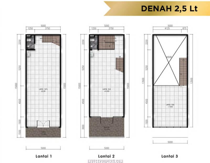 Denah Ruko 2,5 Lantai Golden Stone