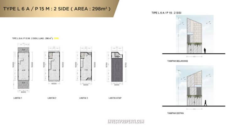Denah Ruko New East JGC Tipe L6A-P15