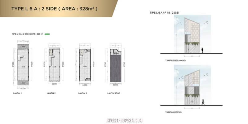 Denah Ruko New East JGC Tipe L6A