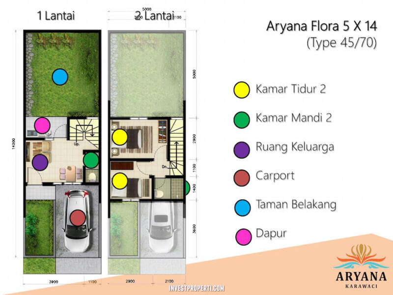 Denah Rumah Aryana Flora Karawaci