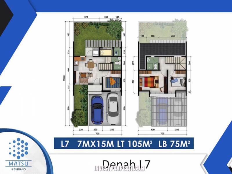 Denah Rumah Cluster Shinano Tipe L7