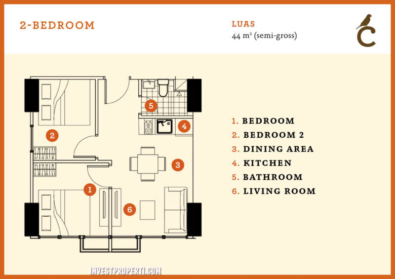 2 BR Type Canary Serpong Apartemen