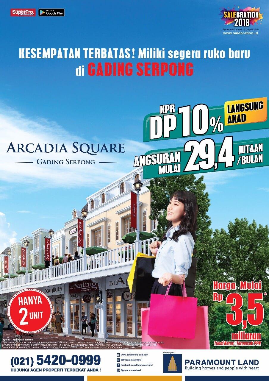 salebration ruko arcadia square paramount