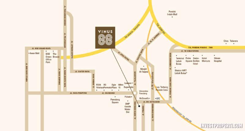 Lokasi Rumah Vinus 88 Pamulang