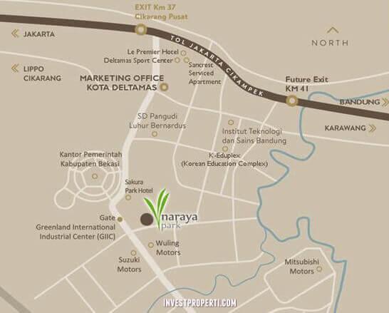 Peta Lokasi Cluster Naraya Park Deltamas