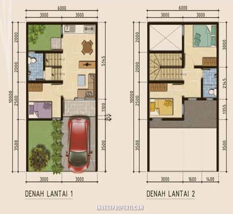 Denah Rumah Naraya Park Kota Deltamas Tipe 50