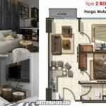 Denah Apartemen SpringLake View Bekasi Tipe 2 Bedroom