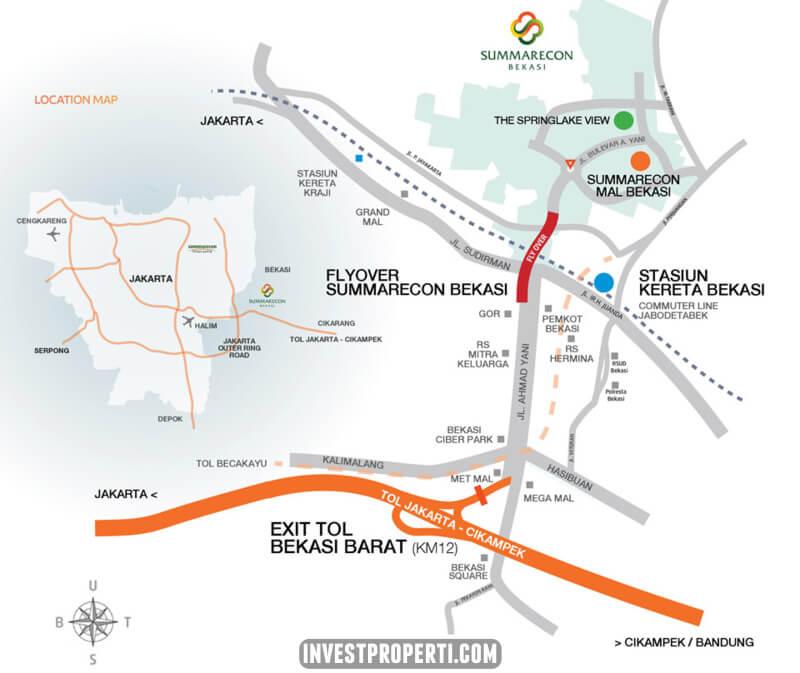 Peta Lokasi Apartemen SpringLake View Summarecon Bekasi