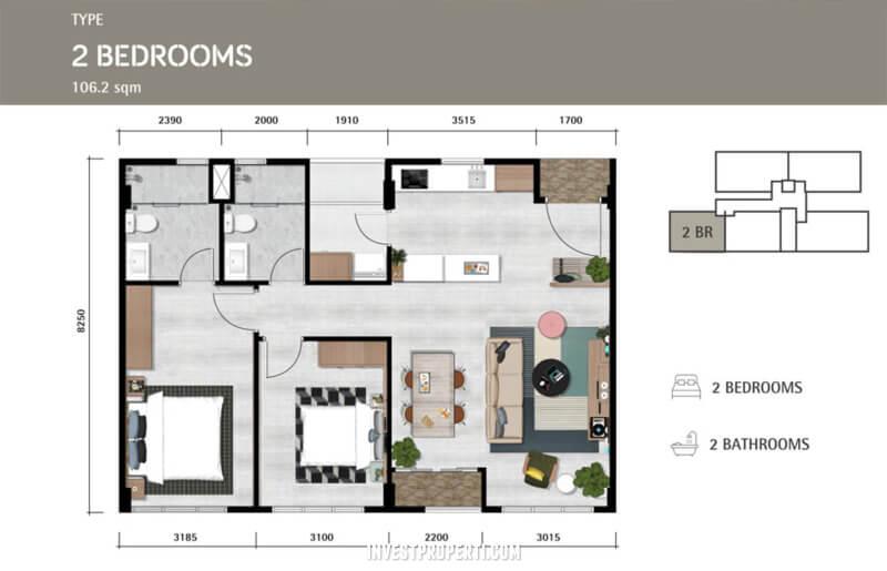 Denah Apartemen Lloyd Alam Sutera 2 BR