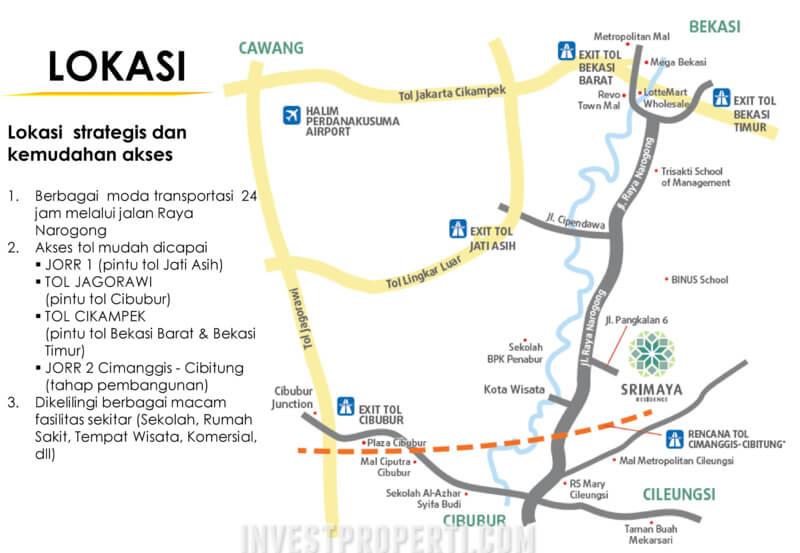 Lokasi Srimaya Residence Bekasi