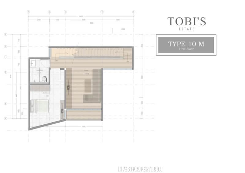 Denah Lt 1 Tobi's Villa Bali Tipe 10
