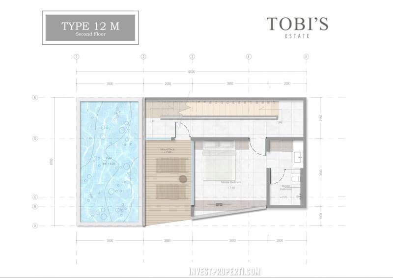 Denah Lt 2 Tobi's Villa Bali Tipe 12