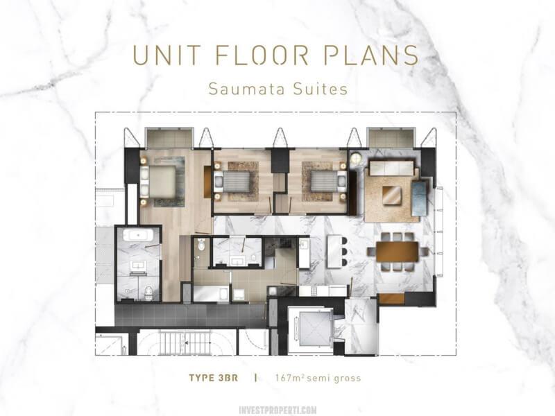 Denah Apartemen Saumata Suites 3 BR