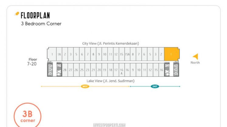 Floor Plan Apartemen Skandinavia Tipe 3 BR Corner