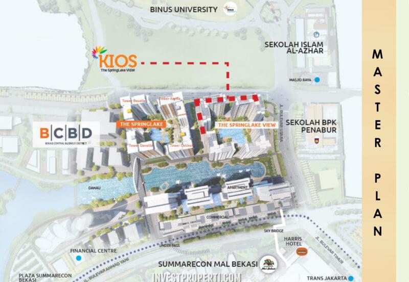Lokasi Kios Apartemen SpringLake View Summarecon Bekasi