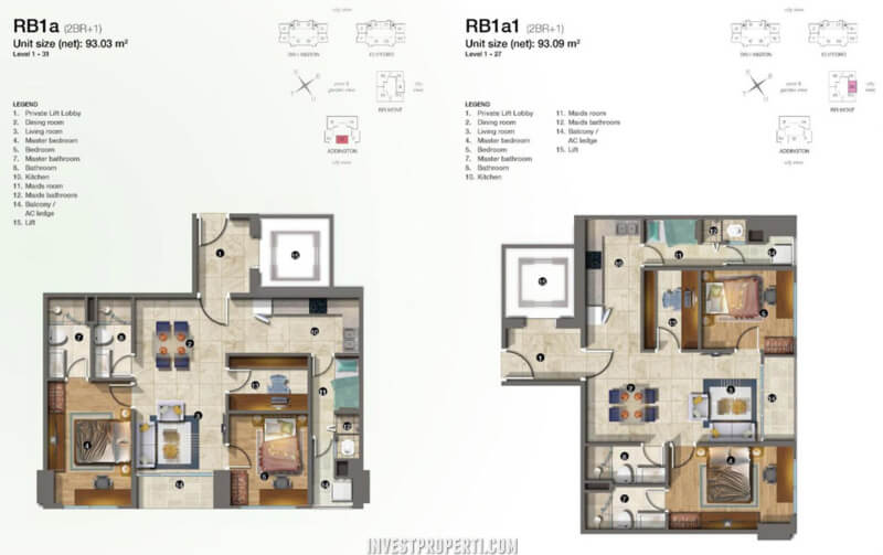 Denah Apartemen Kensington Kelapa Gading Tipe RB1A - RB1A1