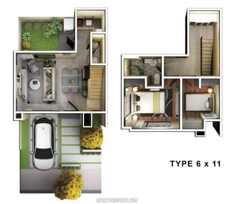Denah Rumah Savasa Homes Kota Deltamas Tipe 6x11