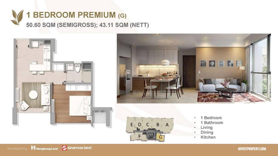 Tipe 1 BR Apartemen Marigold BSD