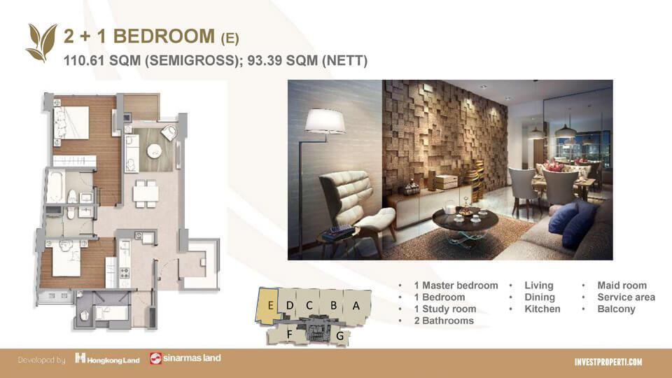 Tipe 2+1 BR Apartemen Marigold BSD
