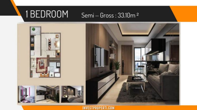 Unit 1 BR Vittoria Apartemen Daan Mogot