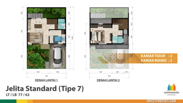 Rumah Cluster Dayana Summarecon Bandung Tipe 7 Std
