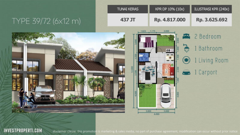 Rumah The Jardin Forest Hill Tipe 39 / 72 m