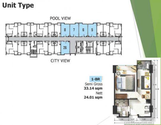 Tipe Unit 1 BR Apartemen Citra Living
