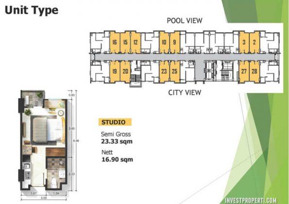Tipe Unit Studio Apartemen Citra Living