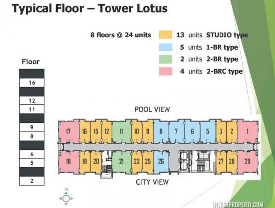 Typical Floor Plan Tower Lotus Apartemen Citra Living
