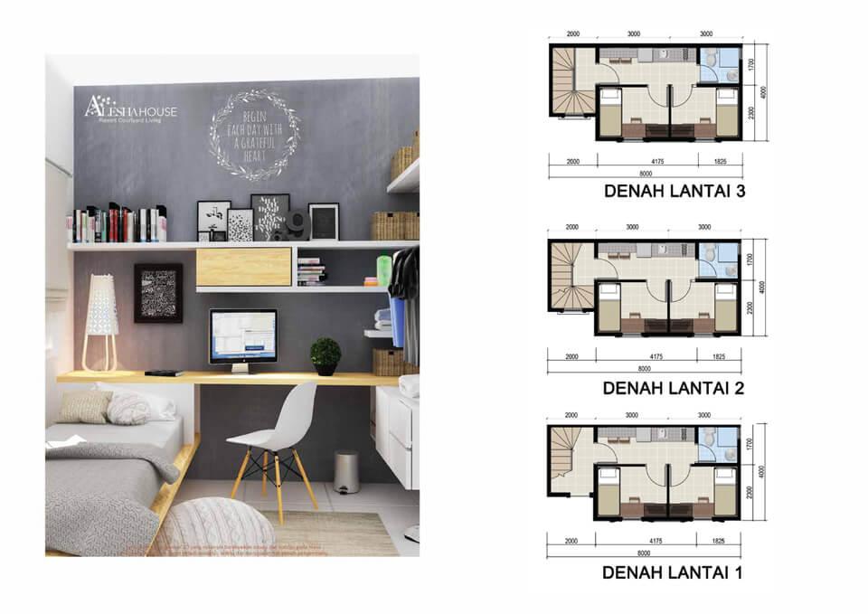 Denah Lantai Alesha House BSD