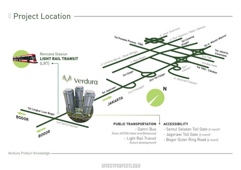 Peta lokasi Apartemen Verdura Sentul City