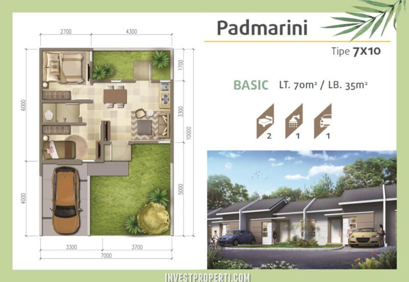 Denah Rumah Srimaya Residence Tipe Padmarini Basic