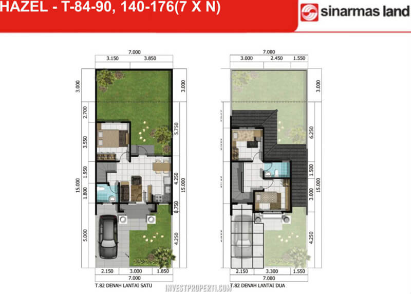 Denah Rumah Hazel Banjar Wijaya T90