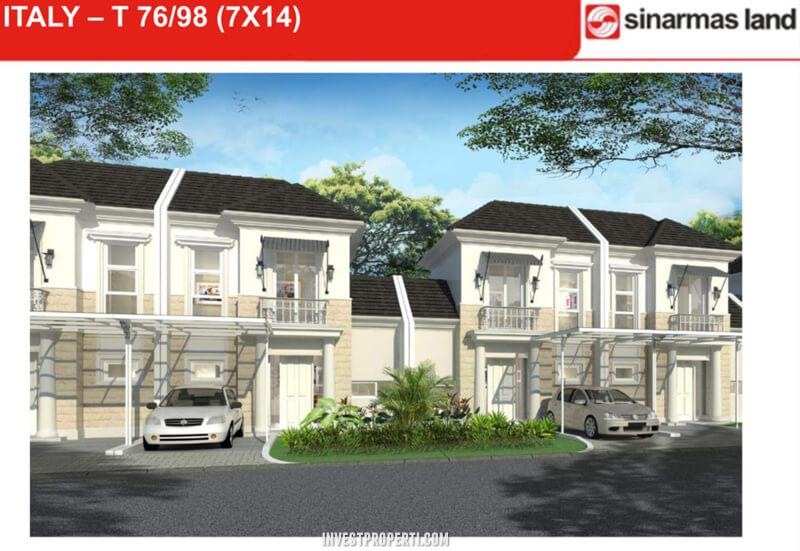 Dijual Rumah Italy Banjar Wijaya Tangerang Tipe 98