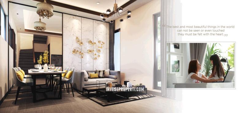 interior rumah cluster lavesh harapan indah tipe parvez
