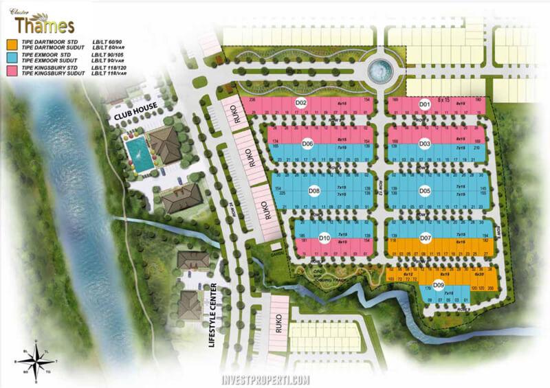 Site Plan Cluster Thames Riverpark Citra Sentul Raya