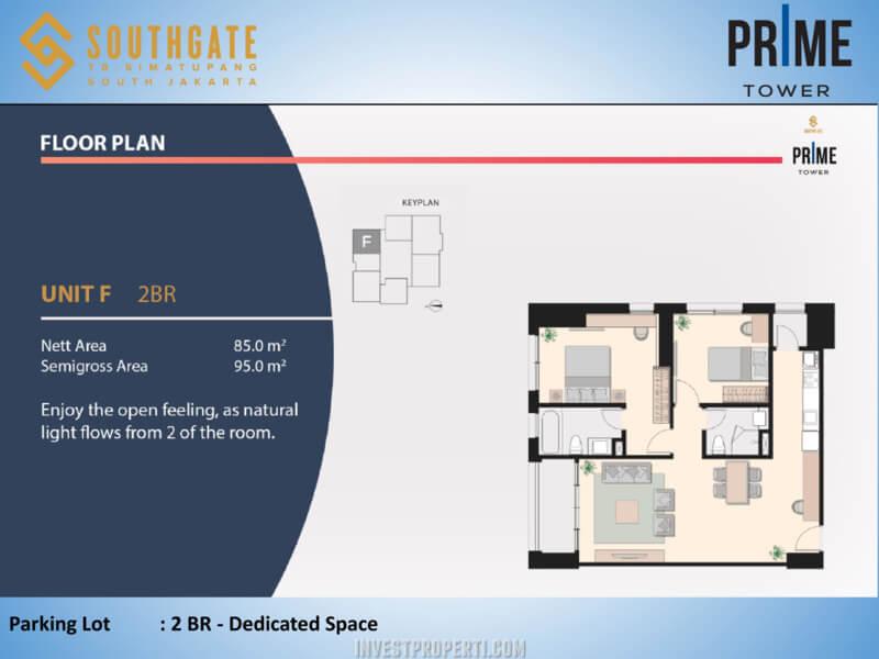 Apartemen Southgate Jakarta Tower Prime Unit 2 BR - Unit F